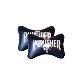 Punisher Logo Neck Rest Pillow - Pair | Car Seat Headrest Memory Cotton Soft Breathable Pillow Neck Support Cushion-SehgalMotors.Pk