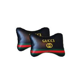 Gucci Logo Neck Rest Pillow - Pair | Car Seat Headrest Memory Cotton Soft Breathable Pillow Neck Support Cushion-SehgalMotors.Pk