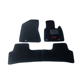 Hyundai Tucson Custom Fit Carpet Floor Mat With Logo Black - Model 2015-2020-SehgalMotors.Pk