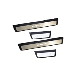 Honda Civic Sill Plates / Skuff LED panels Black Chrome - Model  2016-2020-SehgalMotors.Pk