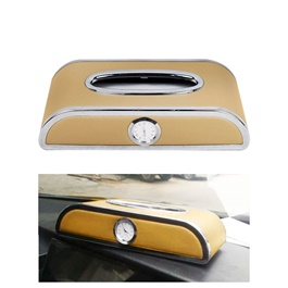 Premium Luxury Car Dashboard Tissue Box With Clock - Beige-SehgalMotors.Pk