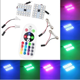 Big Version RGB Multi Color SMD Interior Dome Light with Remote | Car Vehicle Interior Lights Dome Panel LED Lamp | Reading Lamp Map Roof Lights Bulb | Car Interior Light Dome Roof Ceiling Reading Lights Trunk Lamp Car Styling Trunk Lamp Night Light-SehgalMotors.Pk