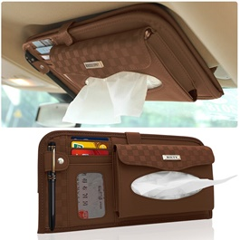 Multifunctional PU Leather Car Sun Visor Tissue Box Case - Brown-SehgalMotors.Pk