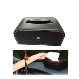 Suzuki Leather Car Tissue Box 9CM Black Version 2 | Tissue Holder | Modern Paper Case Box | Napkin Container Tray | Towel Desktop-SehgalMotors.Pk