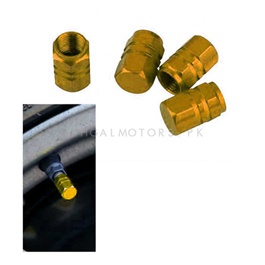 Tire / Tyre Air Valve Nozzle Caps Gold - 4 Pieces | High Quality Aluminum Tyre Valve Caps | Wheel Tire Covered Protector Dust Cover-SehgalMotors.Pk