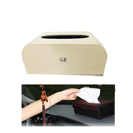 Honda Leather Car Tissue Box 9CM Beige | Tissue Holder | Modern Paper Case Box | Napkin Container Tray | Towel Desktop-SehgalMotors.Pk