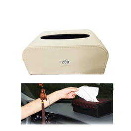 Toyota Leather Car Tissue Box 9CM Beige | Tissue Holder | Modern Paper Case Box | Napkin Container Tray | Towel Desktop-SehgalMotors.Pk