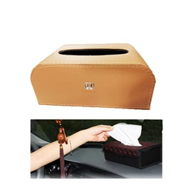 Honda Leather Car Tissue Box 9CM Brown | Tissue Holder | Modern Paper Case Box | Napkin Container Tray | Towel Desktop-SehgalMotors.Pk