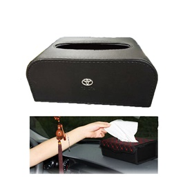 Toyota Leather Car Tissue Box 9CM Black Version 2 | Tissue Holder | Modern Paper Case Box | Napkin Container Tray | Towel Desktop-SehgalMotors.Pk
