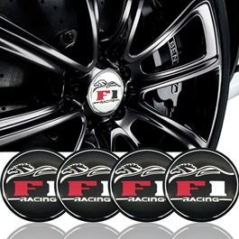 F1 Racing Wheel Cap Logo - 4 Pieces | Wheel Center Cap | Wheel Logo | Wheel Center Hub Caps | Wheel Dust Proof Covers Badge logo-SehgalMotors.Pk