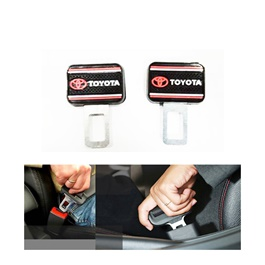 Toyota Logo Complete Logo Red and Black Seat Belt Clips - Pair-SehgalMotors.Pk