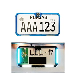 Car Number Plate License Frame with LED Neon Light and Camera Option Pair - Blue-SehgalMotors.Pk