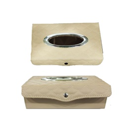 Premium Luxury Car Dashboard Tissue Box With Thread Design - Beige-SehgalMotors.Pk