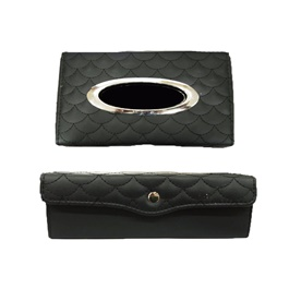 Premium Luxury Car Dashboard Tissue Box With Thread Design - Black-SehgalMotors.Pk