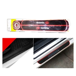 Toyota Rubber Door Scuff Sill Plate Black Red-SehgalMotors.Pk