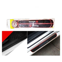 Honda Rubber Door Scuff Sill Plate Black Red-SehgalMotors.Pk
