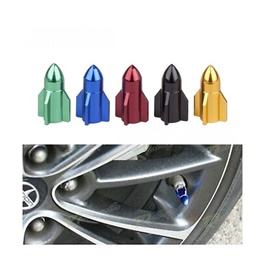 Mini Bullet Tyre Air Valve Nozzle Caps - Multi | High Quality Aluminum Tyre Valve Caps | Wheel Tire Covered Protector Dust Cover-SehgalMotors.Pk