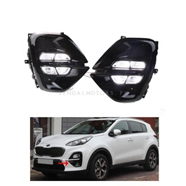 KIA Sportage Class DLAA LED Fog Lamps DRL Covers - Model 2019 - 2020 | NO Check Engine Light | Grip to Grip-SehgalMotors.Pk