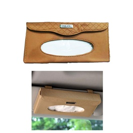 Car Sun Visor Tissue Box - Brown | Tissue Holder | Modern Paper Case Box | Napkin Container Tray | Towel Visor Tissue Box-SehgalMotors.Pk