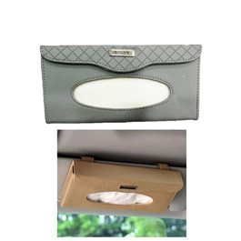 Car Sun Visor Tissue Box - Grey | Tissue Holder | Modern Paper Case Box | Napkin Container Tray | Towel Visor Tissue Box-SehgalMotors.Pk