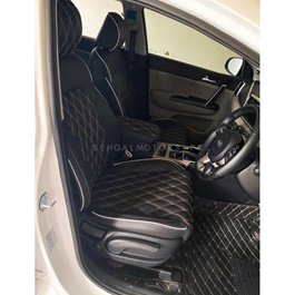 MG HS Black Diamond Style Seat Covers Beige Stitch - Model 2019-2020-SehgalMotors.Pk