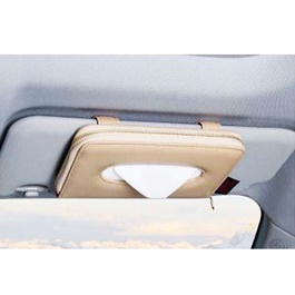 Zipper Car Sun Visor Tissue Box - Beige | Tissue Holder | Modern Paper Case Box | Napkin Container Tray | Towel Visor Tissue Box-SehgalMotors.Pk