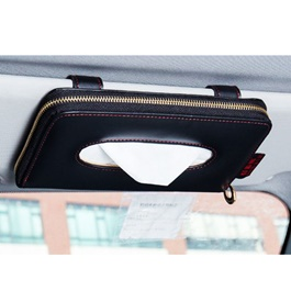 Zipper Car Sun Visor Tissue Box - Black | Tissue Holder | Modern Paper Case Box | Napkin Container Tray | Towel Visor Tissue Box-SehgalMotors.Pk