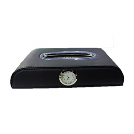 Premium Luxury Car Dashboard Tissue Box With Clock - Black-SehgalMotors.Pk