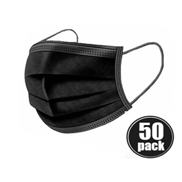 Disposable Surgical Face Mask Black Pack Of 50 | Best Surgical Face Mask | Super Surgical Face Mask-SehgalMotors.Pk