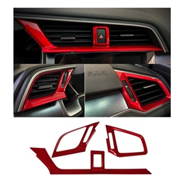 Honda Civic Red Front Vent Cover Trims - Model 2016-2021 (100303152)-SehgalMotors.Pk
