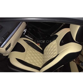 Changan Karvaan Japanese Leather Type Rexine Seat Covers Black and Beige Style - Model 2018-2019-SehgalMotors.Pk