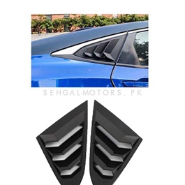 Honda Civic Carbon Fiber Quarter Glass Rack Lamborghini Style Louver Vents Pair- Model 2016-2020 (100302766)-SehgalMotors.Pk