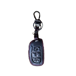 Hyundai Tucson Leather Key Cover 3 Button with Key Chain / Key Ring - Model 2020-2021-SehgalMotors.Pk