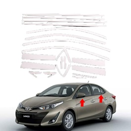 Toyota Yaris Complete Chrome Weather Strips 22 PC - Model 2013-2019