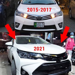 Toyota Corolla Face Uplift From Old Model to New Altis X Camry Style Shape With Head Lamps and TRD Grille Complete Front Conversion Upgrade- Model 2015-2021-SehgalMotors.Pk