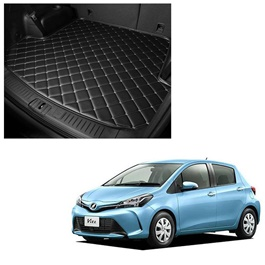 Toyota Vitz 7D Trunk Mat Mix Thread Black - Model 2017-2018 | Trunk Boot Liner | Cargo Mat Floor Tray | Trunk Protection Mat | Trunk Tray Cover Pad-SehgalMotors.Pk