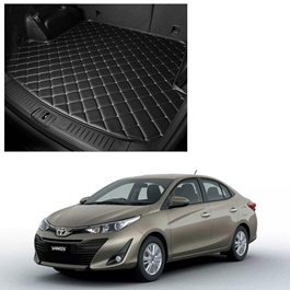 Toyota Yaris 7D Trunk Mat Mix Thread Tray Black - Model 2020-2021 | Trunk Boot Liner | Cargo Mat Floor Tray | Trunk Protection Mat | Trunk Tray Cover Pad-SehgalMotors.Pk