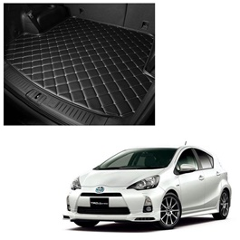 Toyota Aqua 7D Trunk Mat Mix Thread Tray Black - Model 2012-2018 | Trunk Boot Liner | Cargo Mat Floor Tray | Trunk Protection Mat | Trunk Tray Cover Pad-SehgalMotors.Pk