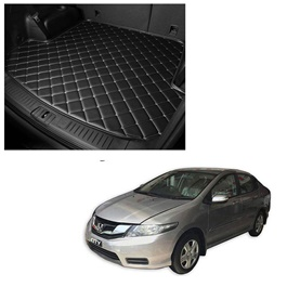 Honda City 7D Trunk Mat Mix Thread Tray Black - Model 2008-2021 | Trunk Boot Liner | Cargo Mat Floor Tray | Trunk Protection Mat | Trunk Tray Cover Pad-SehgalMotors.Pk