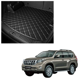 Toyota Prado 7D Trunk Mat Mix Thread Tray Black For 5 Seat Car Only - Model 2009-2021 | Trunk Boot Liner | Cargo Mat Floor Tray | Trunk Protection Mat | Trunk Tray Cover Pad-SehgalMotors.Pk