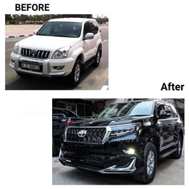 Toyota Prado Old 2003 Model TRD Conversion / Upgrade Face Uplift from with Modellista Body kit Model - 2003-2021 | Old Shape to New Shape | Bugatti Head Lamps-SehgalMotors.Pk