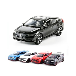 Honda Civic X Die Cast Car Toy Black - Model 2016 -2021