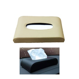 Universal Leather Car Tissue Box - Beige | Tissue Holder | Modern Paper Case Box | Napkin Container Tray | Towel Desktop-SehgalMotors.Pk