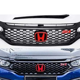 Honda Civic SI Grille Black Without Logo - Model 2016-2021 | Si Style Grille | Civic Grille | New Style Civic Grille | Latest Model Grille | Front Grille SI Style Hood Mesh Upper Grill